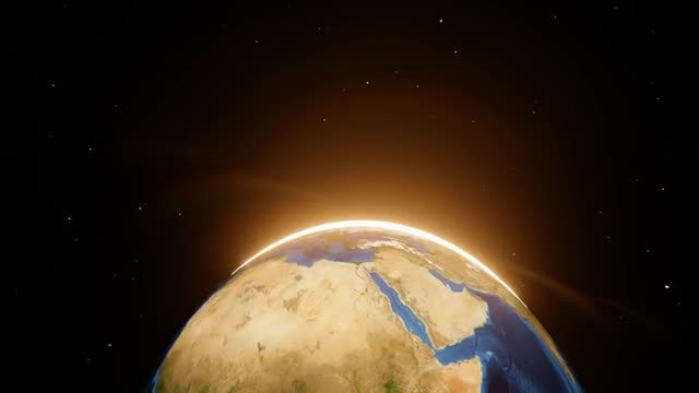 Spinning Earth With Peeking Sun: Stock Motion Graphics