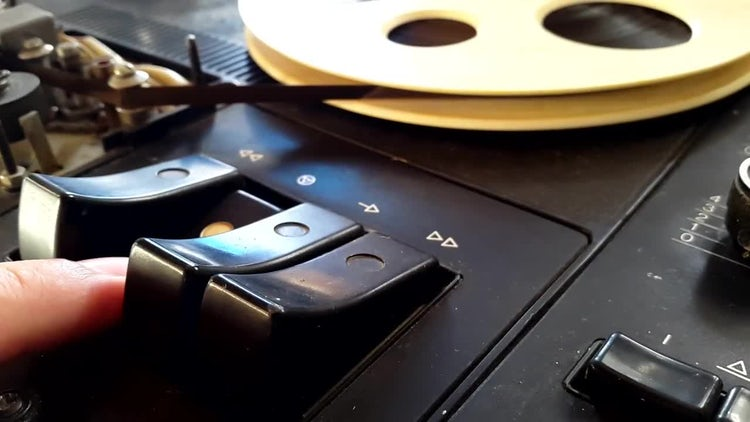Pausing Magnetic Reel Tape Recorder: Stock Video