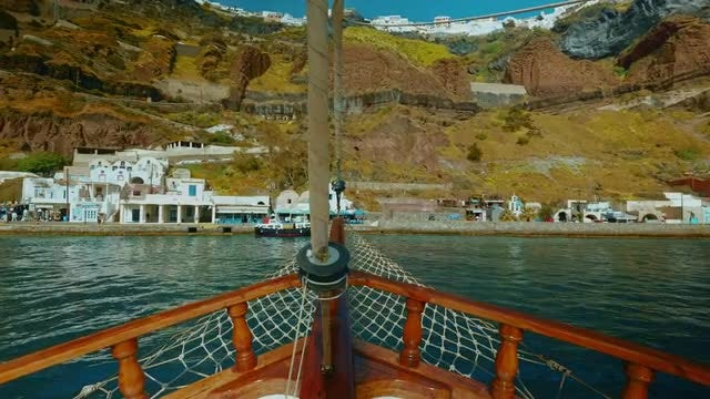 Sailing And Nearing Santorini: Stock Video