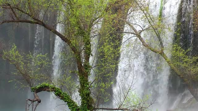 Tall Waterfall In Antalya Turkey: Stock Video