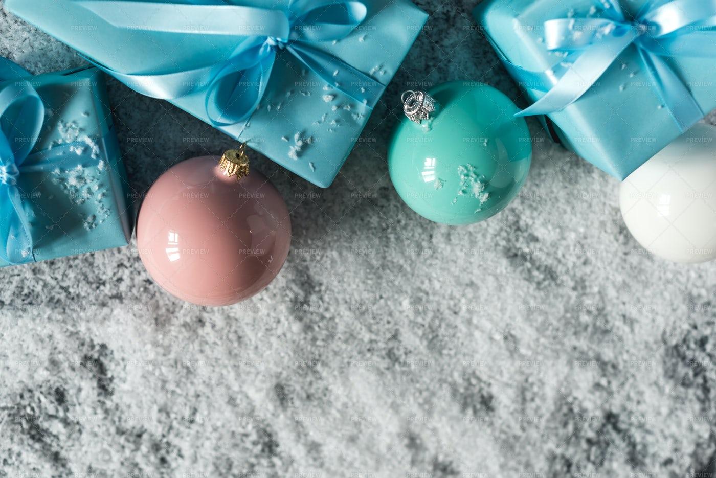 Present Box And Balls: Stock Photos