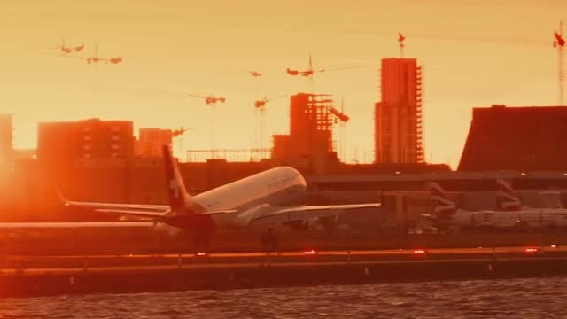 Airplane Landing During Sunset: Stock Video