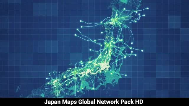 Japan Maps Network Pack: Stock Motion Graphics