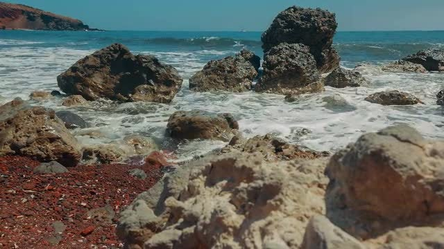 Mediterranean Beach With Red Sand: Stock Video