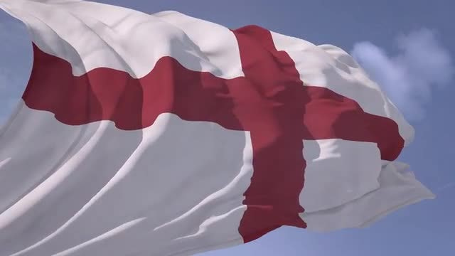 England Flag Waving in Slow Motion: Stock Motion Graphics
