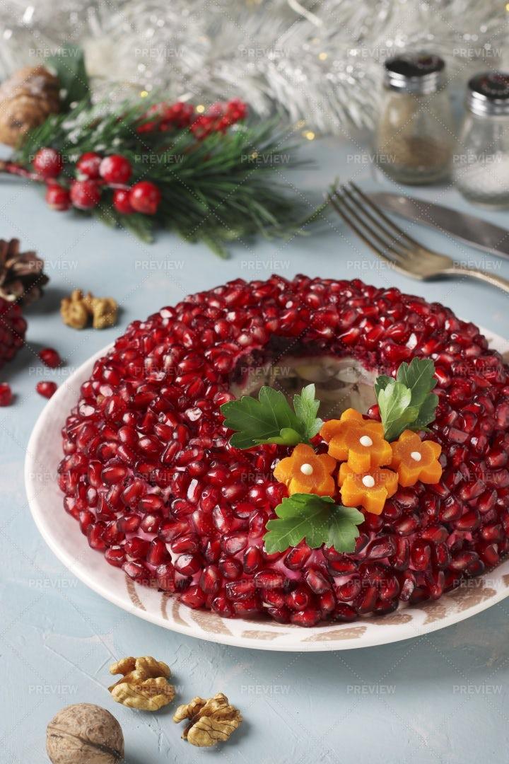 Russian Salad Pomegranate Bracelet: Stock Photos