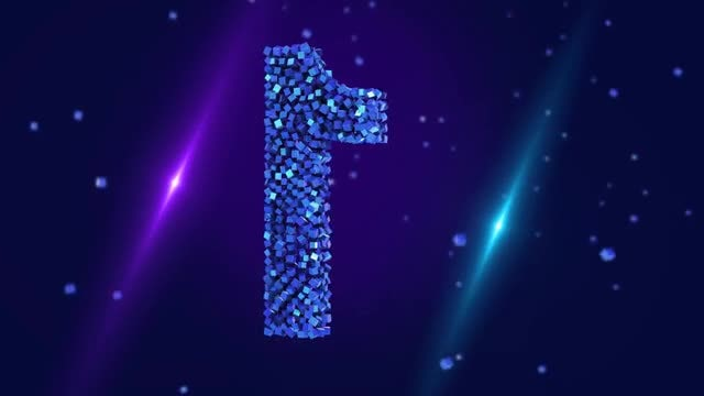 Sparkling Blue Number 1: Stock Motion Graphics