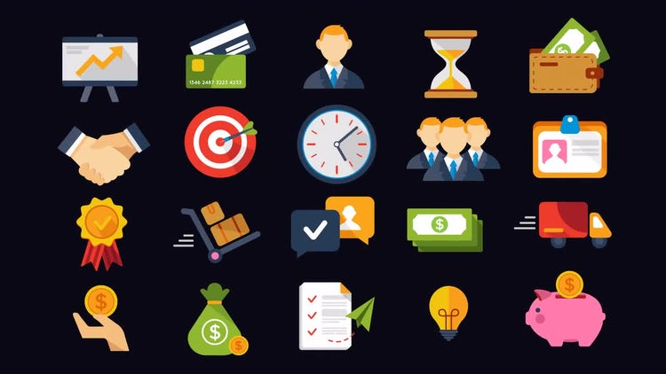 20 Animated Business And Finance Icons: After Effects Templates