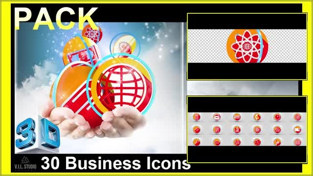 Icons Business - 3D Pack: Stock Motion Graphics