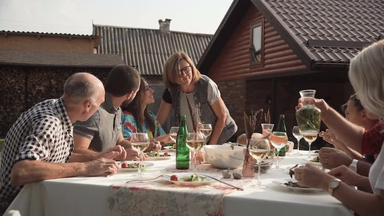 Woman Joins Family Party : Stock Video