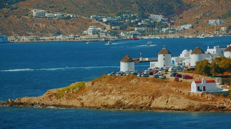 Cinematic View Of Mykonos Island: Stock Video