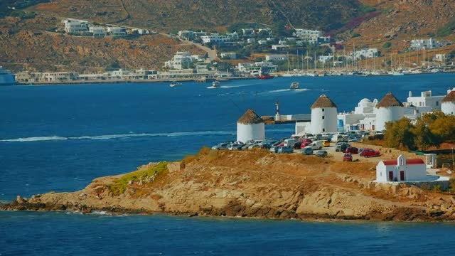 Cinematic View Of Mykonos Island: Stock Video