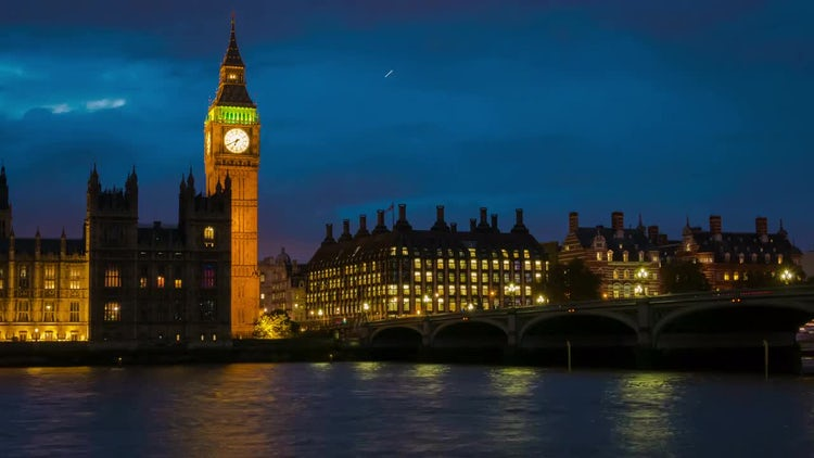 Nighttime Big Ben And Westminster: Stock Video