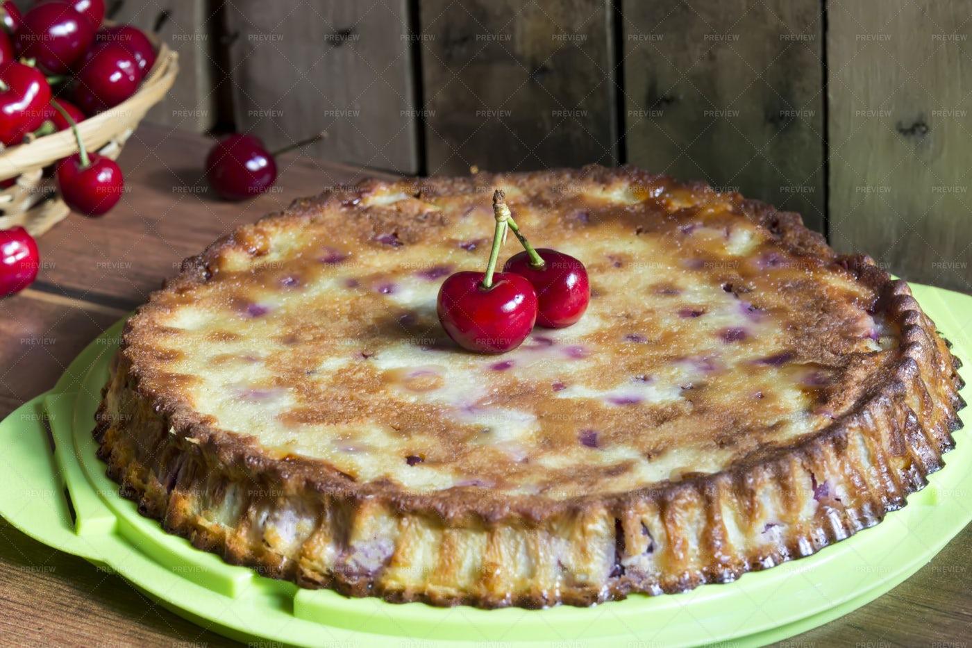 Homemade Cherry French Cake: Stock Photos