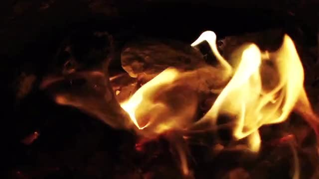 Golden-Yellow Flames Burning At Night: Stock Video