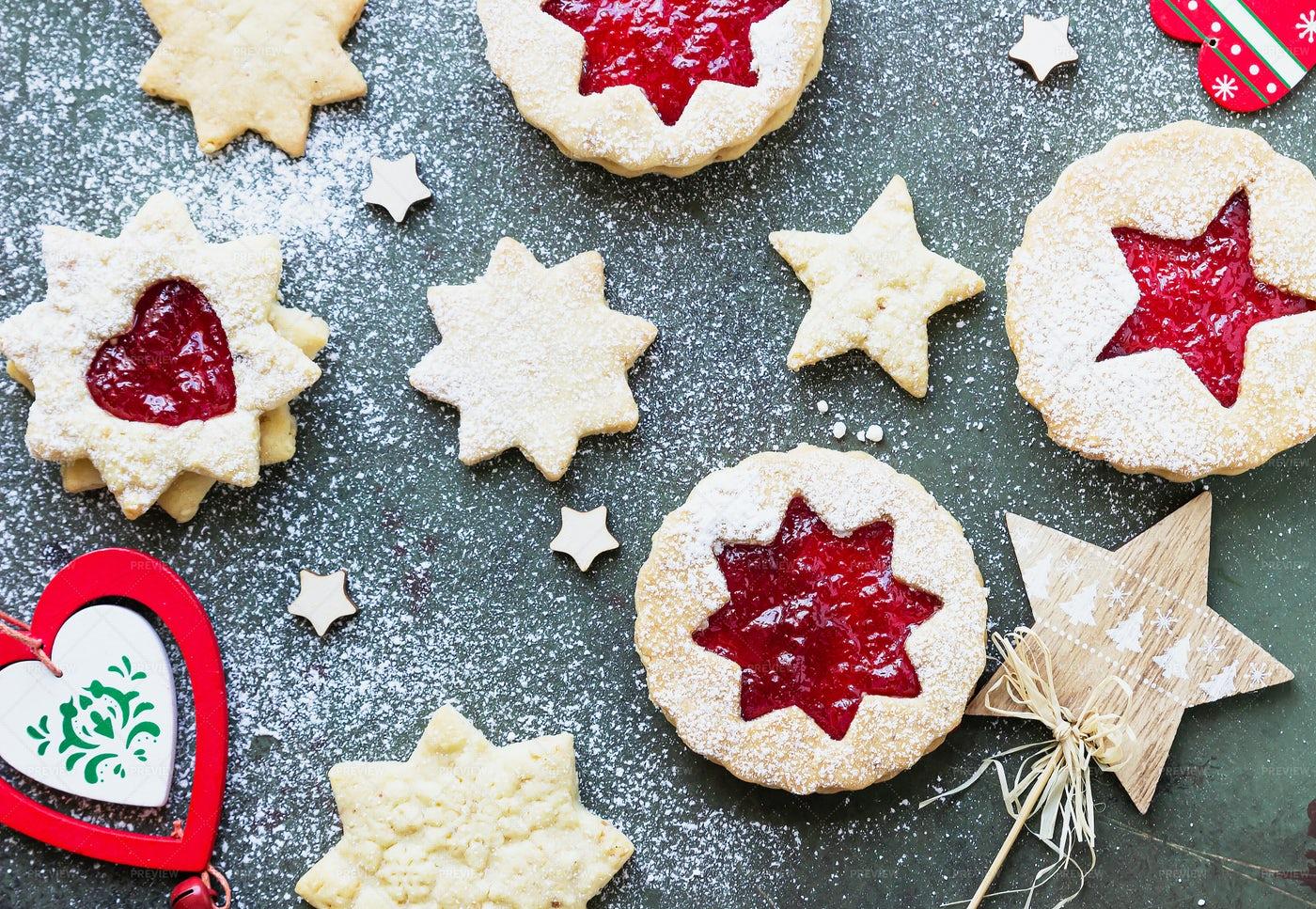 Linzer Cookies With Jam: Stock Photos