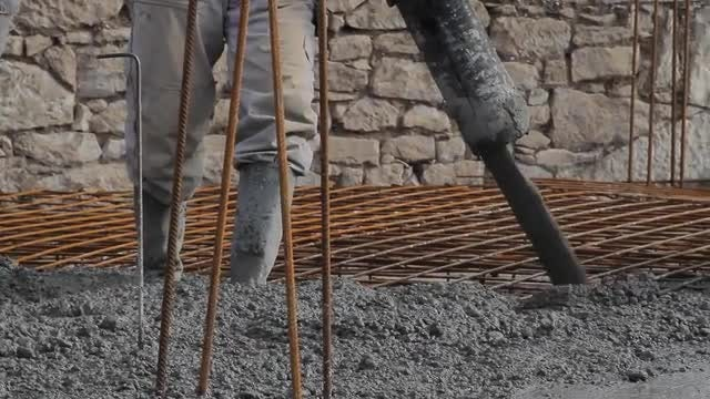 Concrete Pouring Works: Stock Video