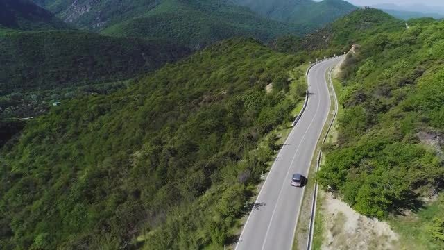 Car Going Up The Mountain: Stock Video