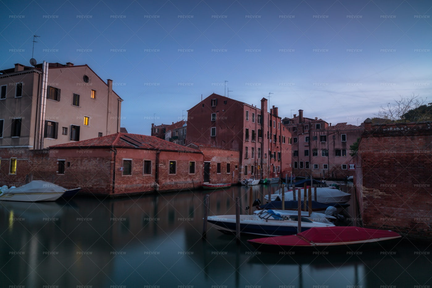 Venice Canal During Blue Hour: Stock Photos