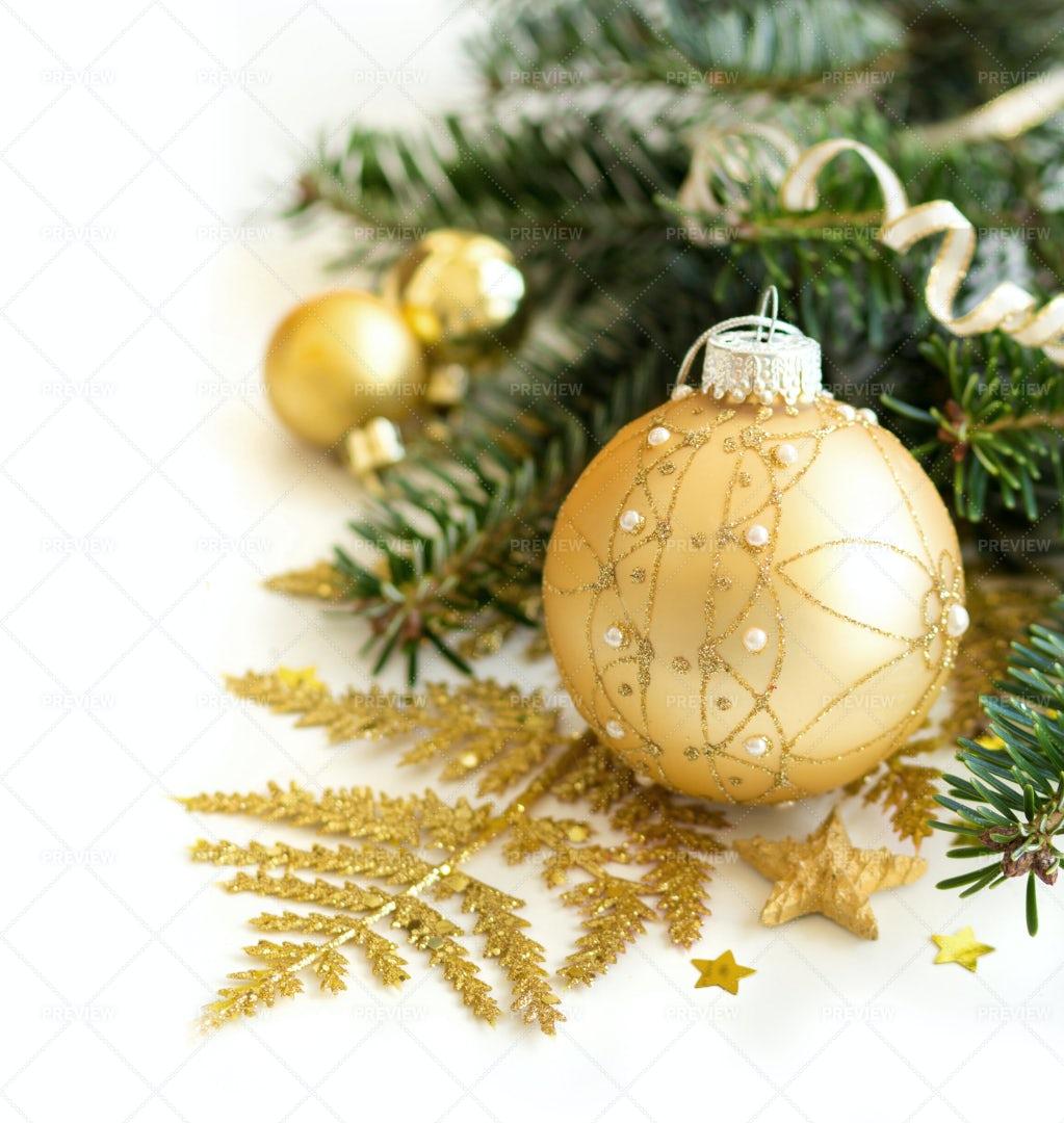 Golden Christmas Decor: Stock Photos