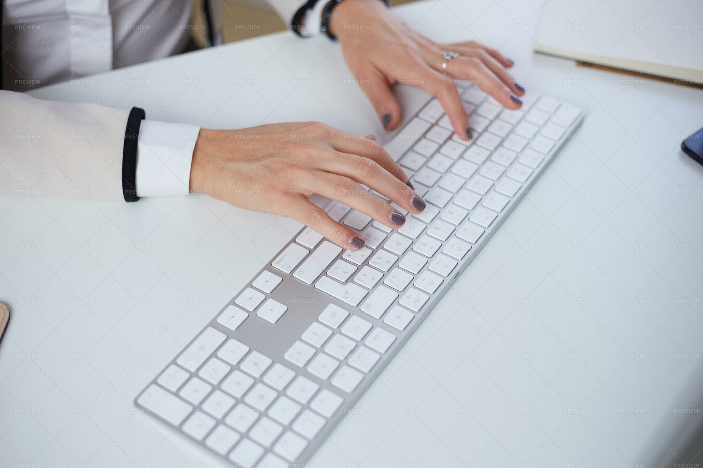 Female Hands Using Modern Computer: Stock Photos