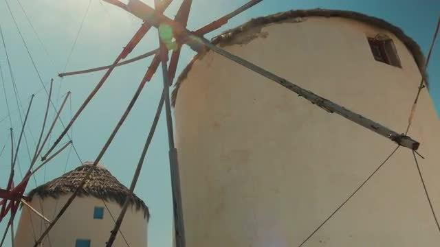 Traditional Windmills Of Mykonos, Greece: Stock Video