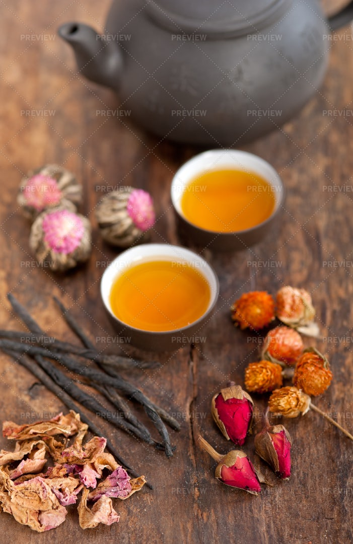 Chinese Herbal Floral Tea: Stock Photos