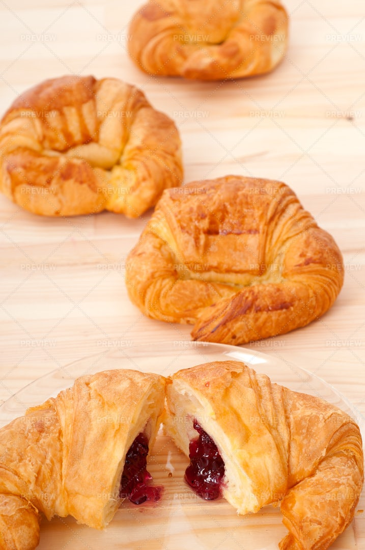 Croissant Filled With Jam: Stock Photos