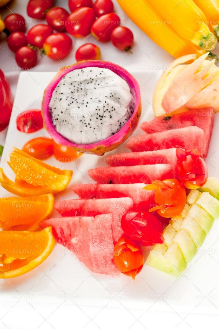 Mixed  Fresh Sliced Fruits: Stock Photos