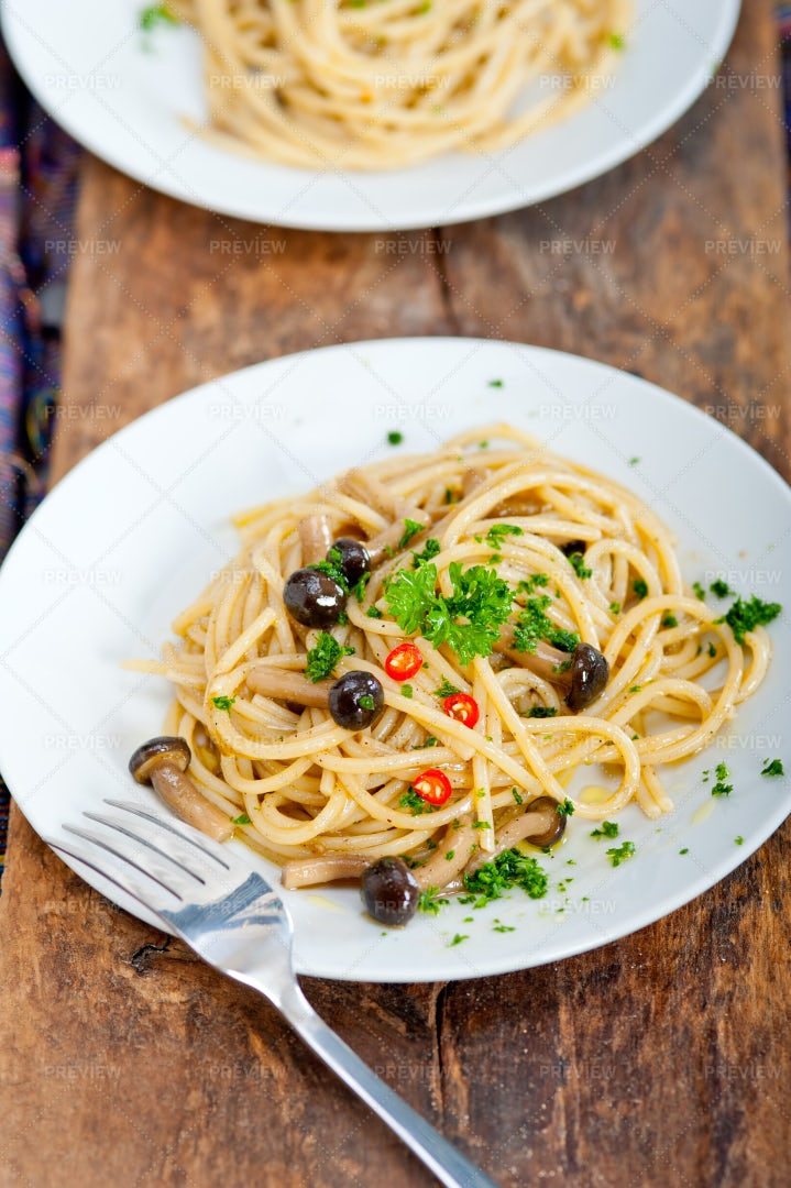 Italian Pasta And Mushroom Sauce: Stock Photos