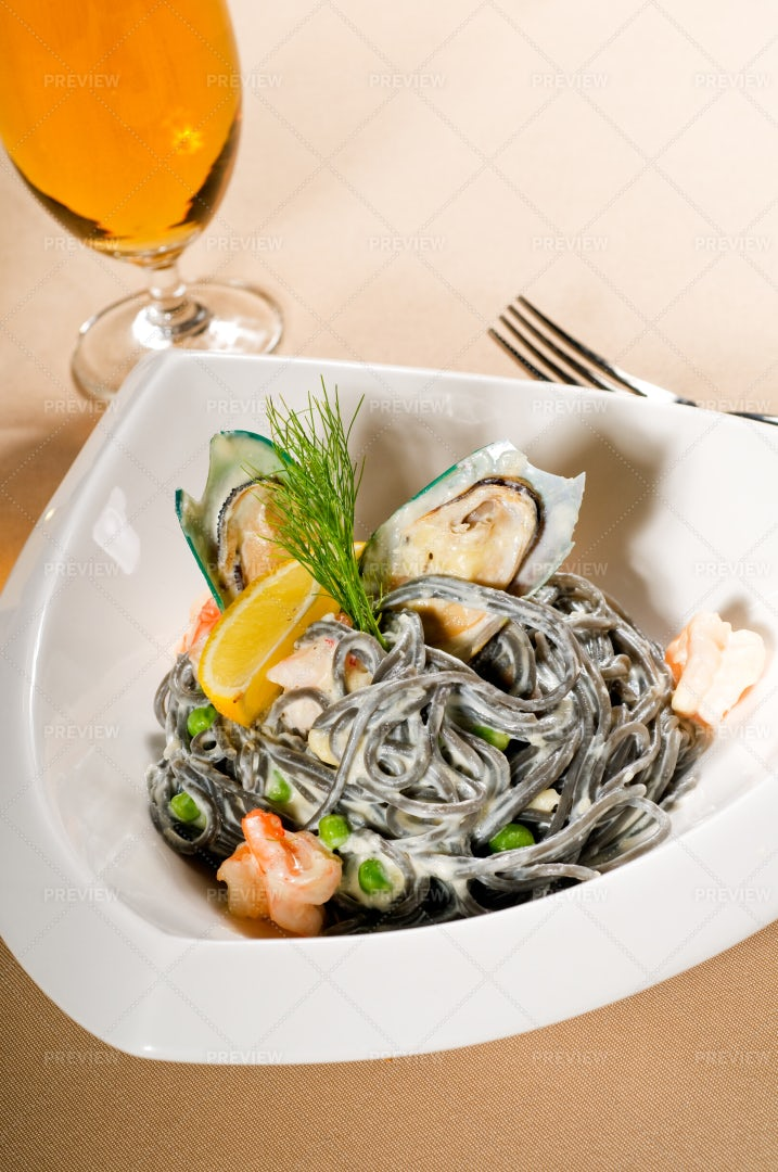 Seafood And Black Spaghetti: Stock Photos