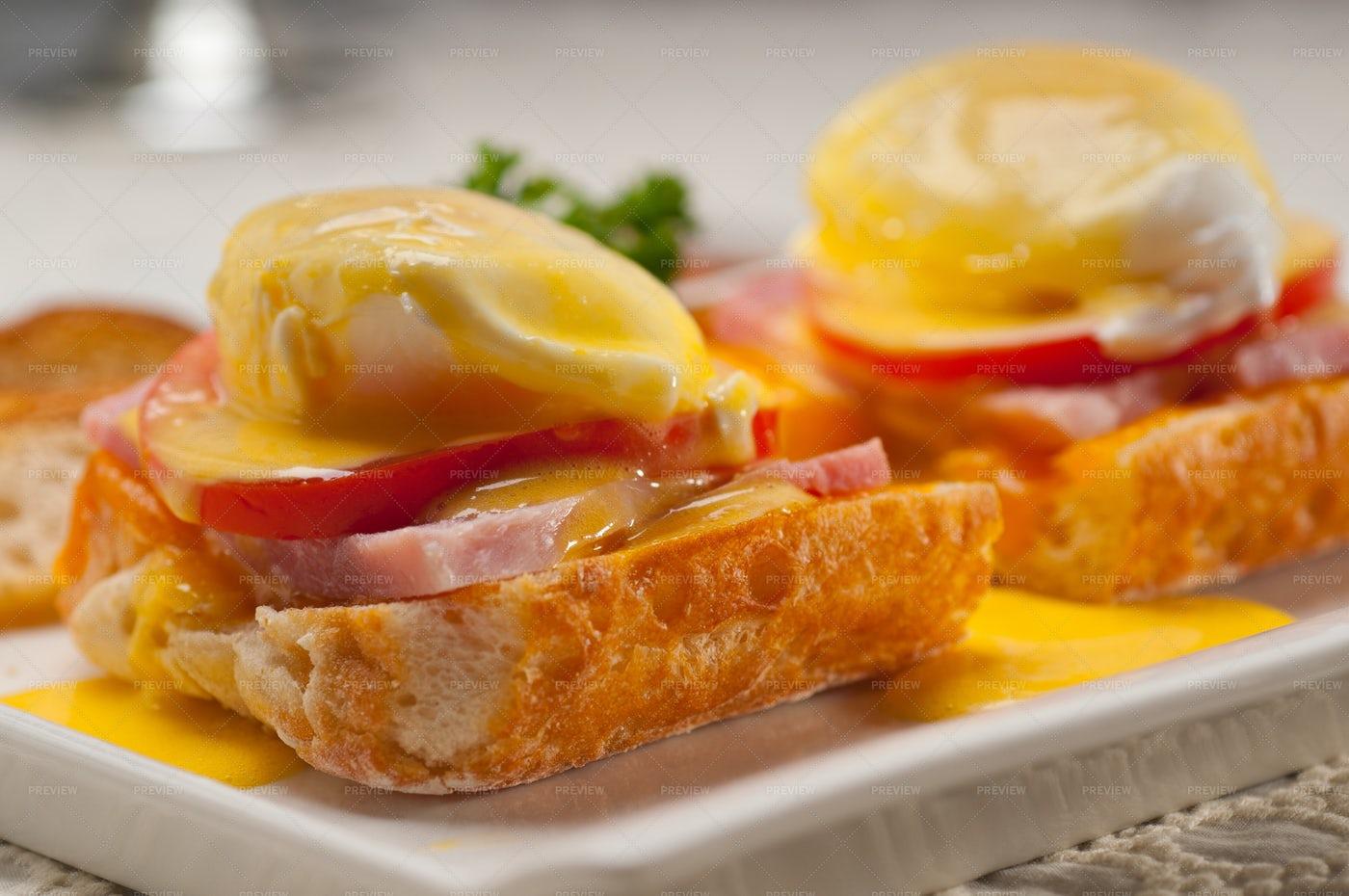 Eggs Benedict On Bread: Stock Photos