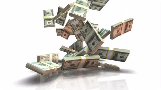Falling Dollar Stacks: Stock Motion Graphics