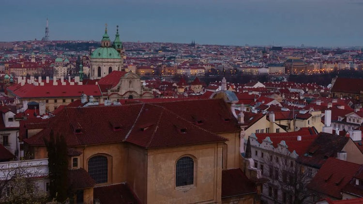 Sunset In Prague Old Town : Stock Video