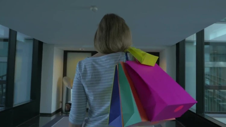 Happy Woman after Shopping: Stock Video