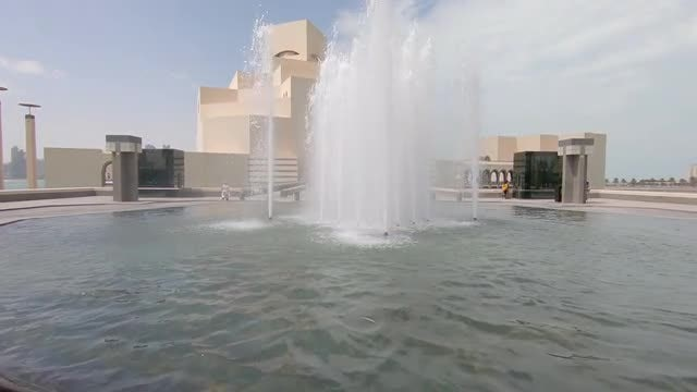POV Of Beautiful Outdoor Fountain : Stock Video