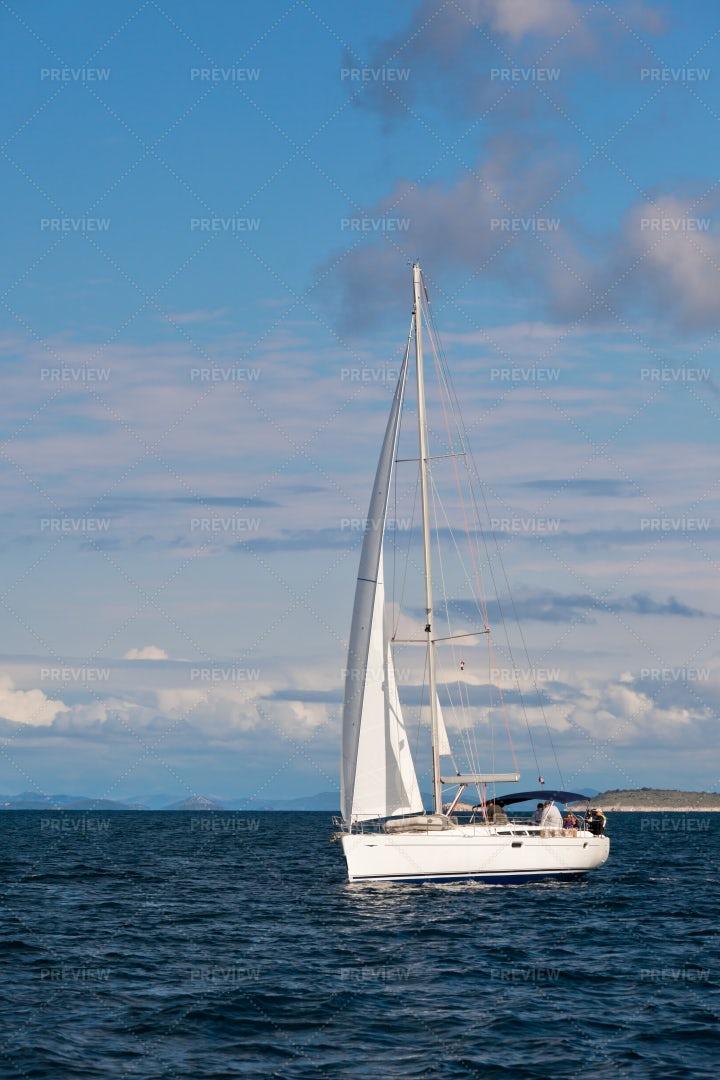 Recreational Yacht In Sea: Stock Photos