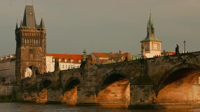 Charles Bridge, Prague, Czech Republic : Stock Video
