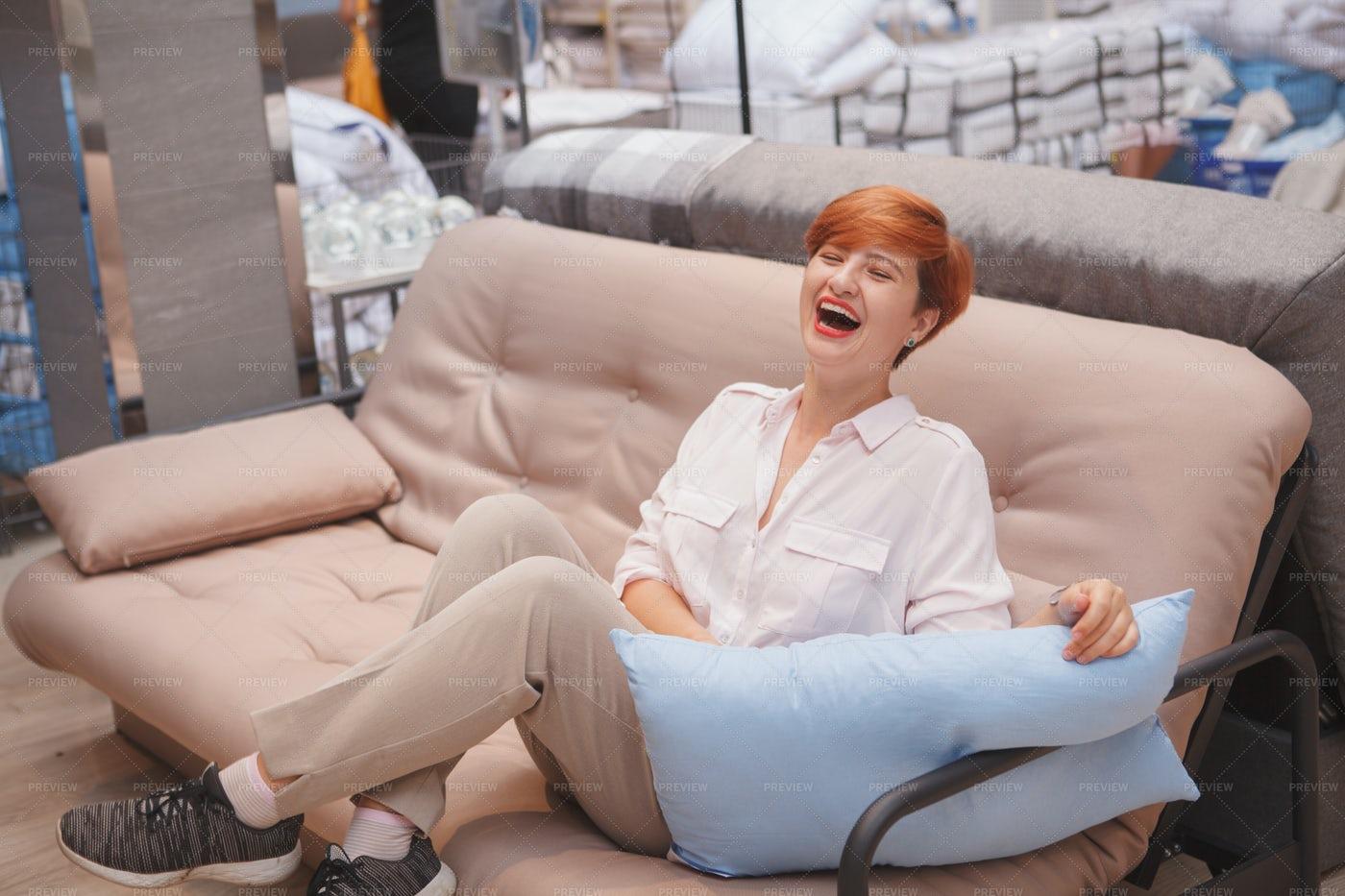 Happy Customer In Sofa: Stock Photos