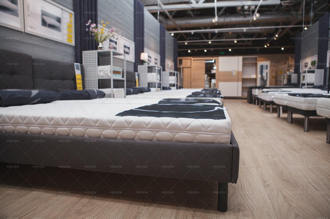 Beds At Furniture Store: Stock Photos