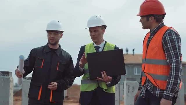 Male Engineers At Construction Site : Stock Video