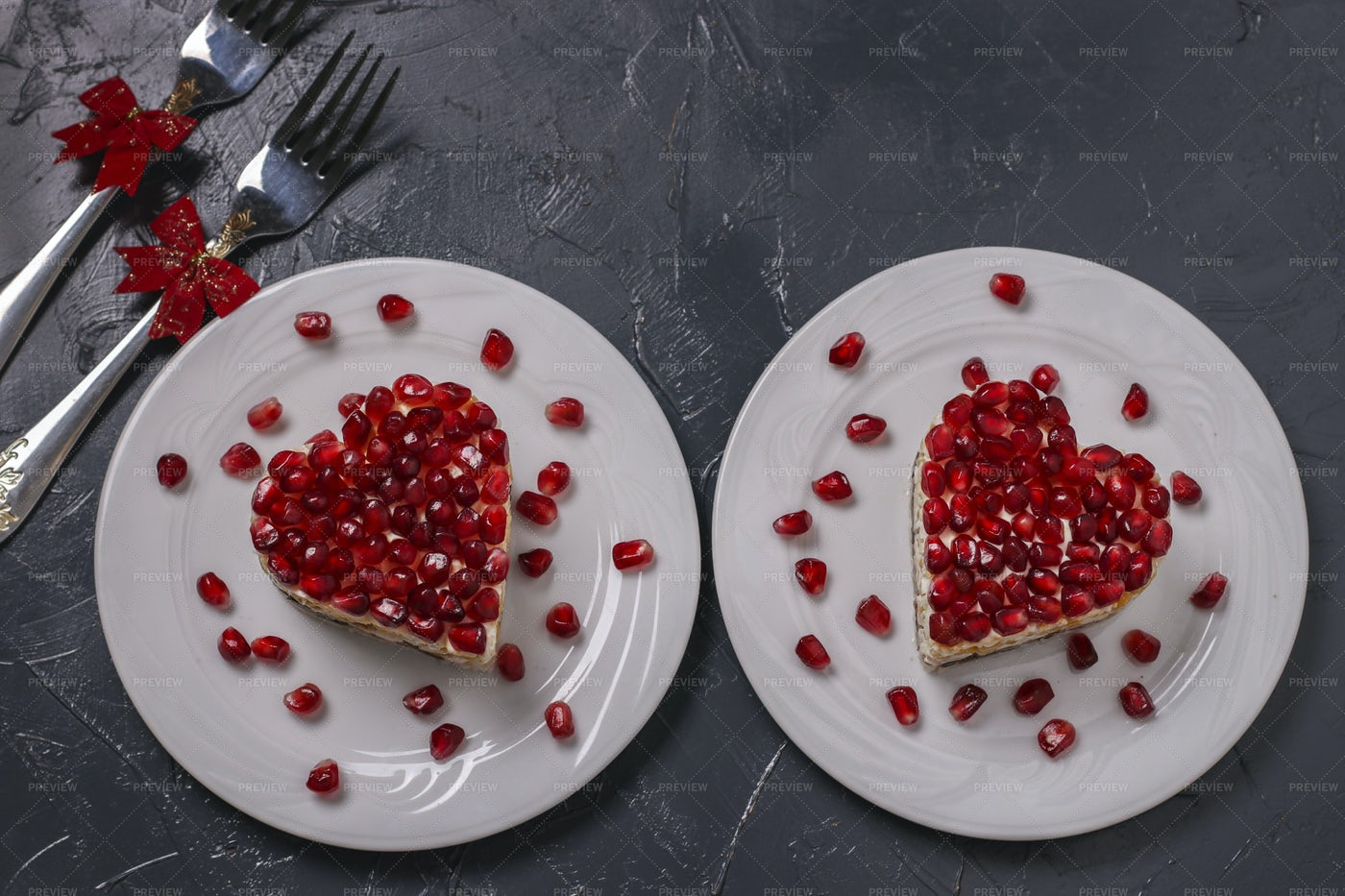 Salad In Shape Of Heart: Stock Photos
