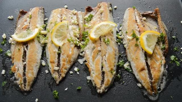 Roasting Fish In Frying Pan : Stock Video