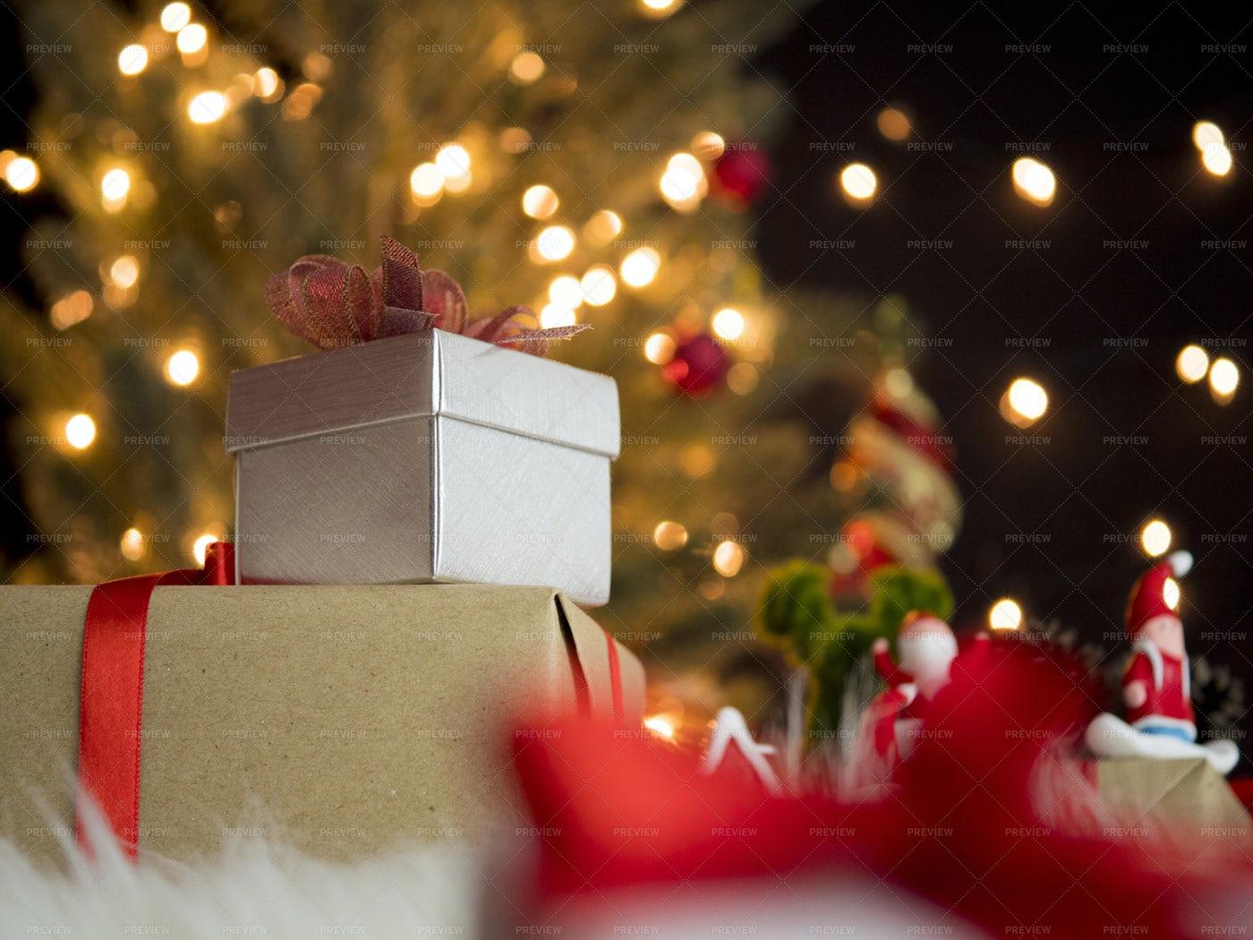 Gift Box With Bokeh Lights: Stock Photos