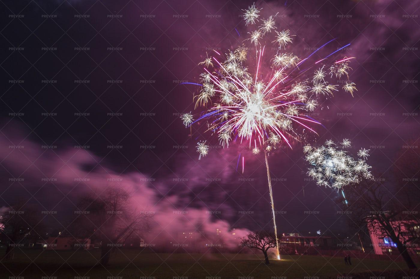 Red Firework On Sky: Stock Photos