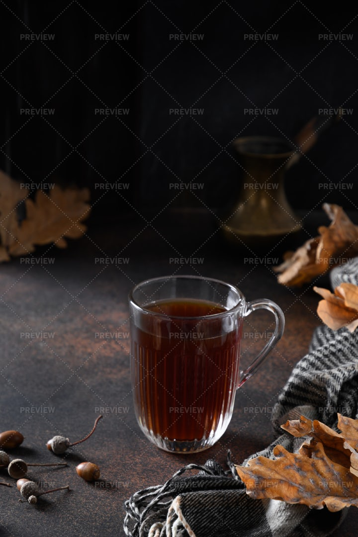 Acorn Coffee With Leaves: Stock Photos