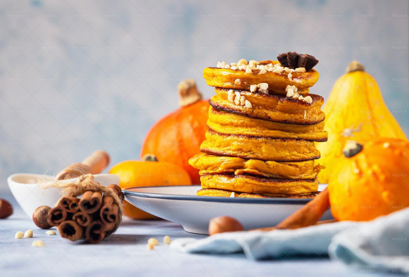 Pumpkin Pancakes With Honey: Stock Photos
