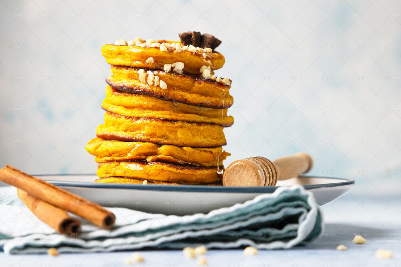 Delicious Pumpkin Fluffy Pancakes: Stock Photos