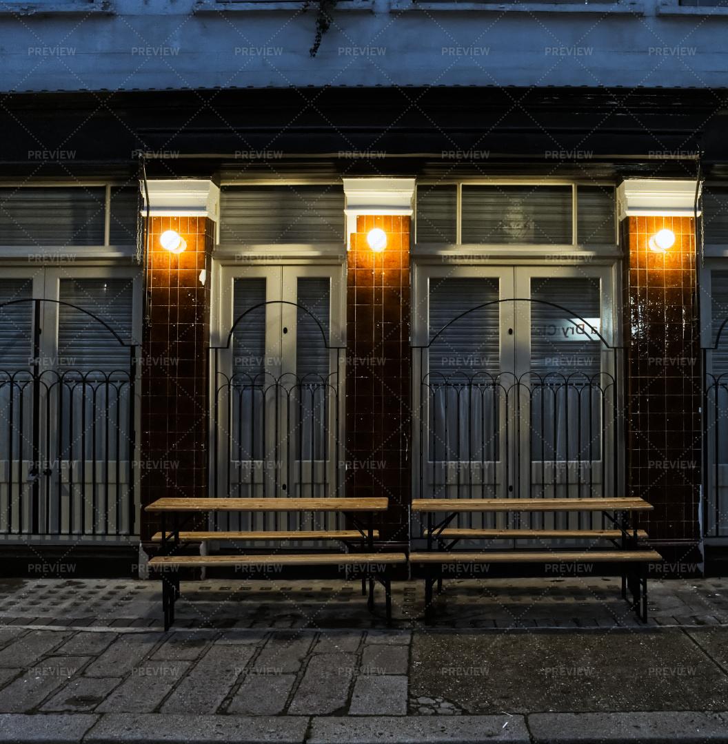 Closed Shop At Night: Stock Photos