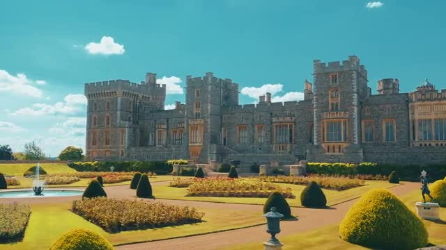 Windsor Castle And Manicured Gardens: Stock Video